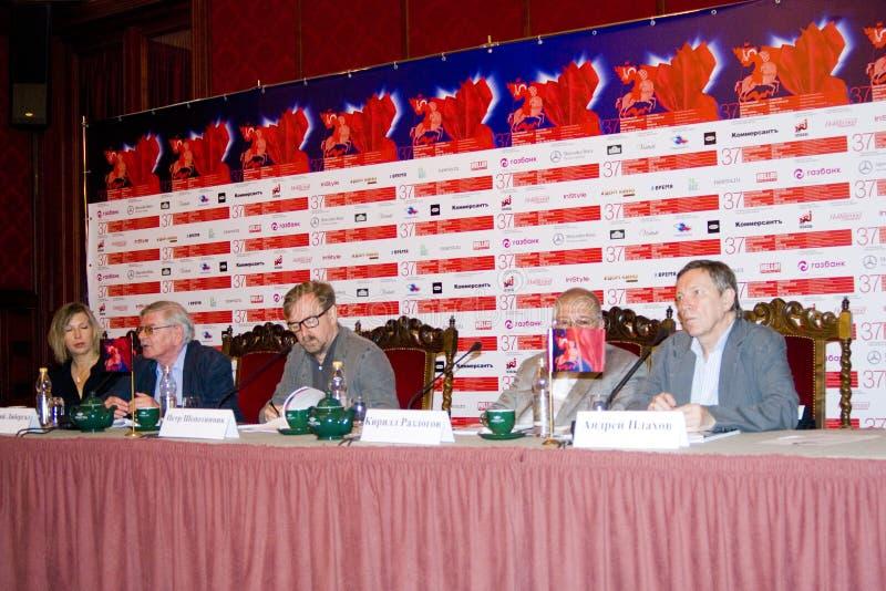 Presskonferens av den 37th MoskvaInternationalfilmfestivalen arkivbild