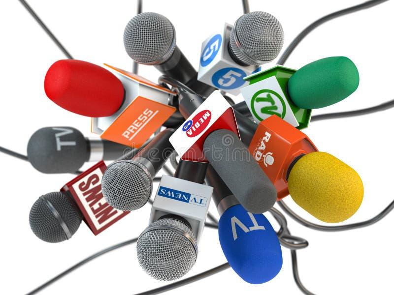 Presskonferens eller intervju, mikrofoner av det olika maxxmassmedia, tv, radio som isoleras på vit bakgrund royaltyfri illustrationer