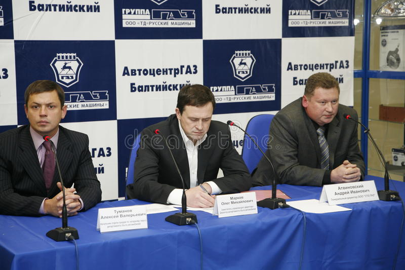 Presskonferens för journalister med deltagande av ledningen av Gorky den auto växten royaltyfri fotografi