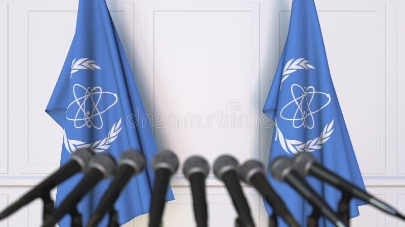 Presskonferens för representant för IAEA för internationell atomenergibyrå Flaggor och mikrofoner Begreppsmässig ledare 3D vektor illustrationer