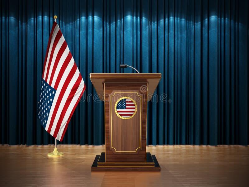 Presskonferens med flaggor av Amerikas förenta stater USA och korpulpet mot den blåa gardinen illustration 3d royaltyfri illustrationer