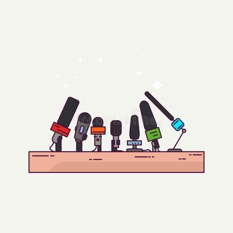 Presskonferens och mikrofoner royaltyfri illustrationer