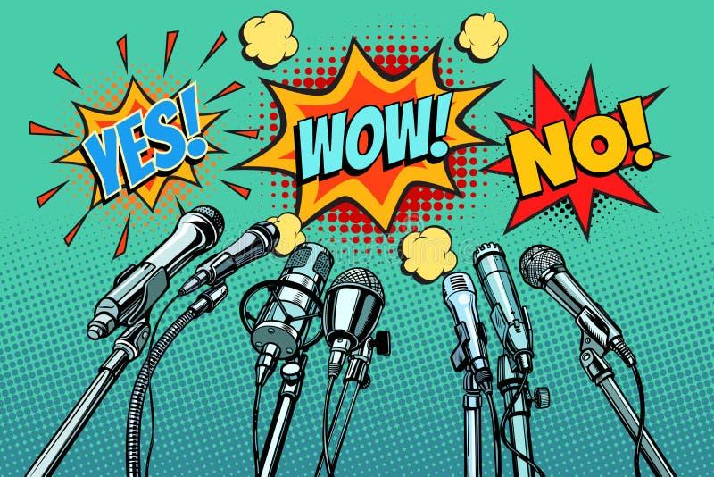 Presskonferensmikrofonbakgrund som är ingen, överraskar ja vektor illustrationer