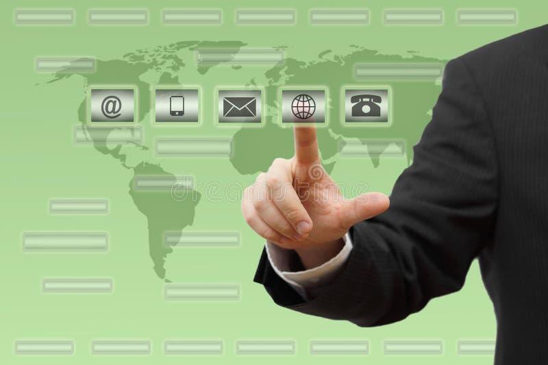 Pressurage d'homme d'affaires virtuel (courrier, téléphone, email, boutons de ww w) concept de support à la clientèle image stock