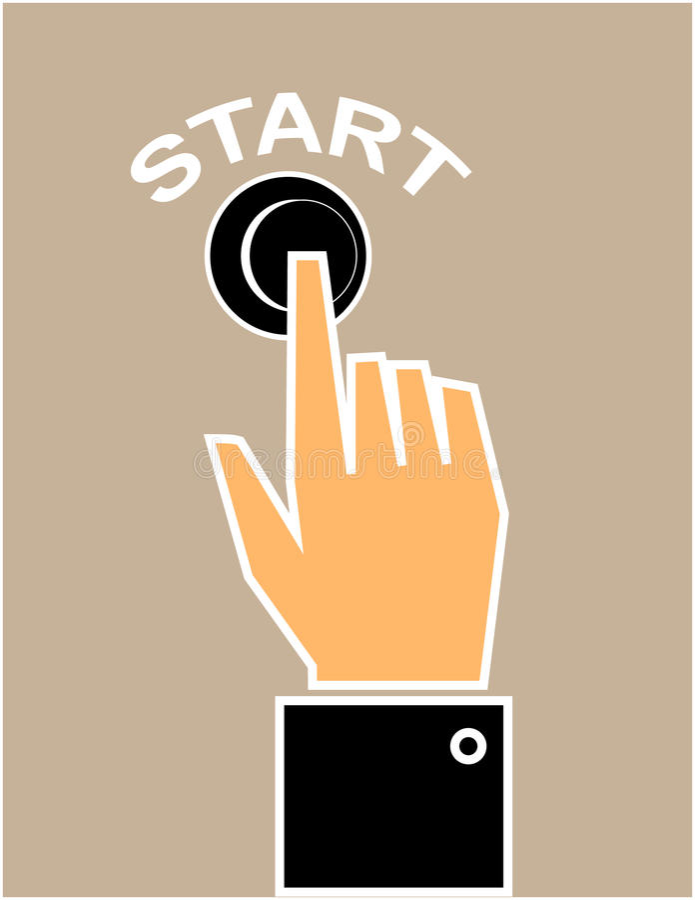 Pressurage du bouton marche illustration stock