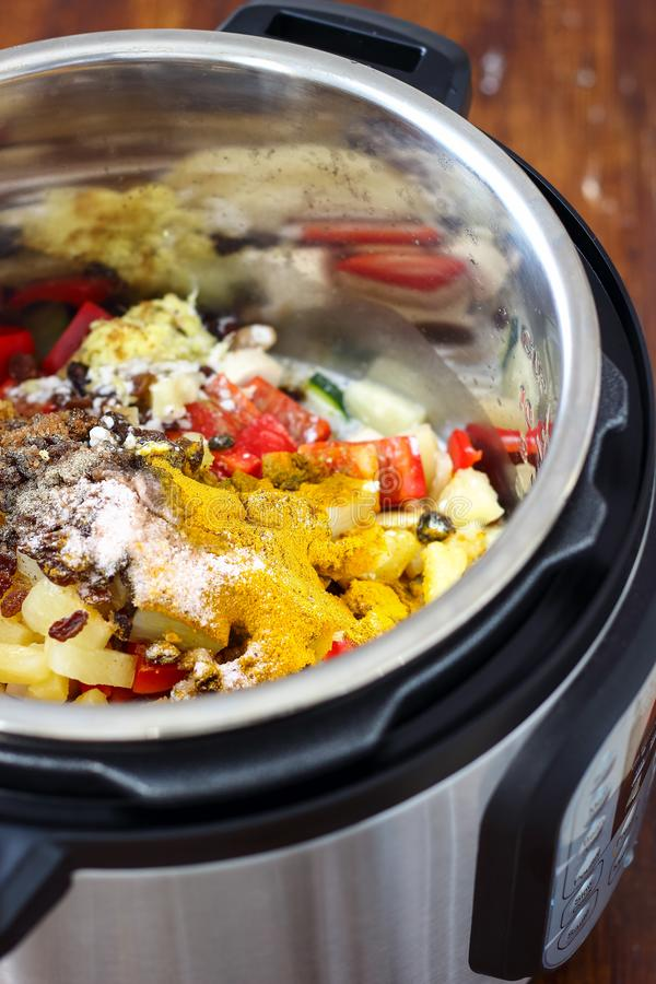 Pressure Cooker Chicken Curry. Homemade chicken curry made in instant pot stock photos