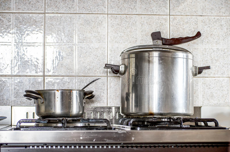 Pressure cooker kitchen background vintage stock photos
