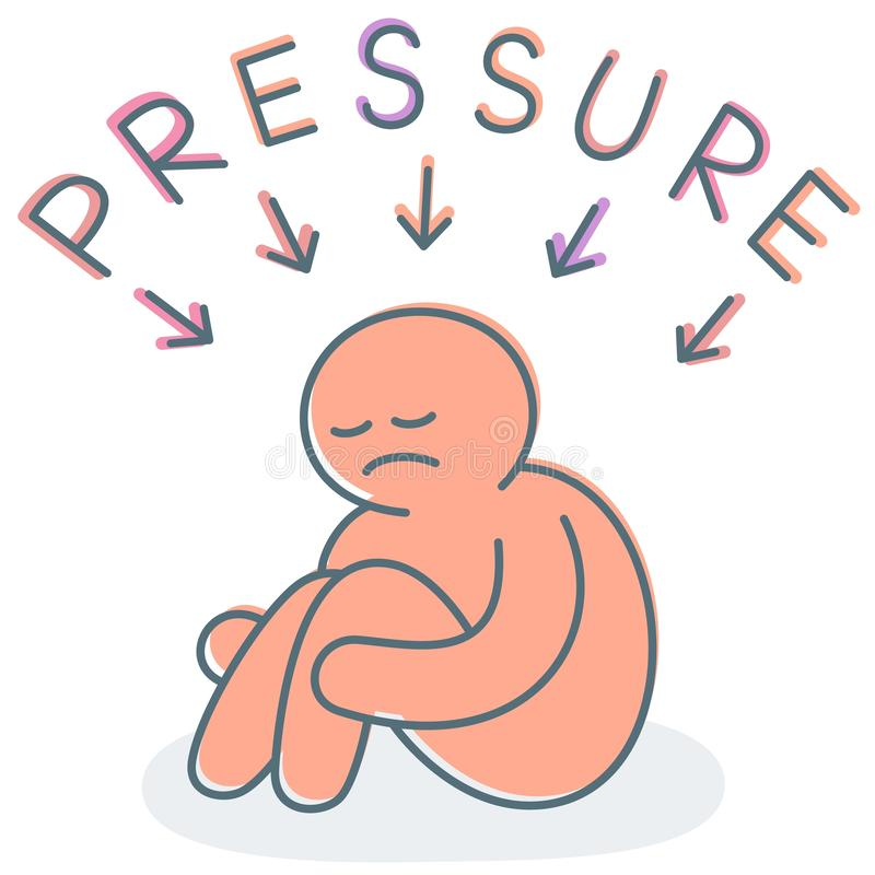 Pressure on depressed teenager or student from parent or bully royalty free stock image