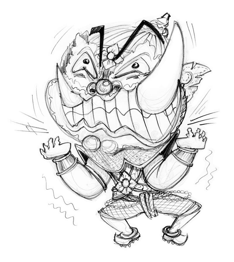 Pressure frantic bulge hand draw. Thai Giant cartoon acting pressure frantic bulge, Character design and freehand pencil sketch background isolate white vector illustration