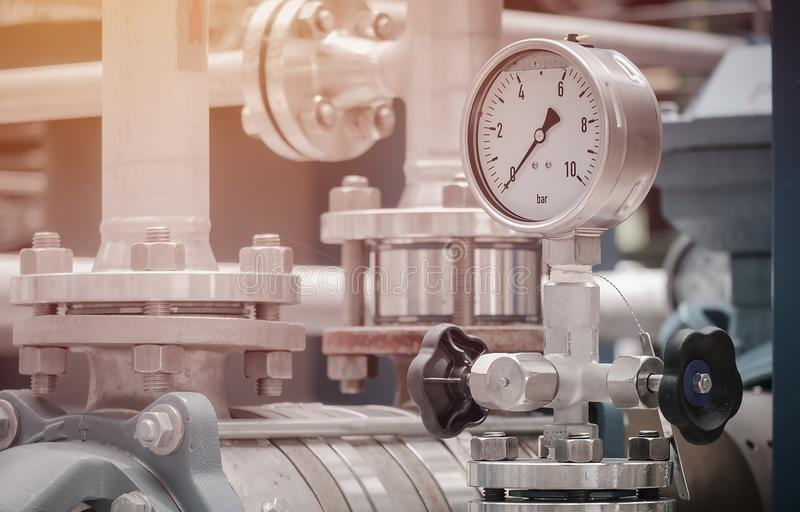 Pressure gauge. On discharge pump in industrial plant, Oil and gas  in factory royalty free stock images