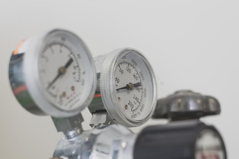 Pressure gauge on a gas regulator stock photography