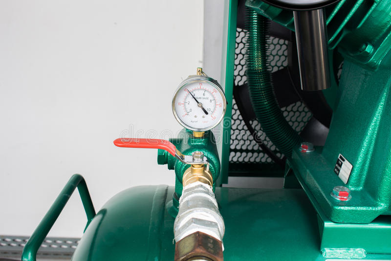 The pressure gauge, in the pneumatic system. The pressure gauge, in the pneumatic system stock photo