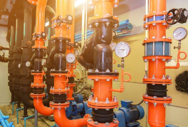 Meter in pipe and valves of fire emergency system industry. Pressure gauge psi meter in pipe and valves of fire emergency system industry stock photo