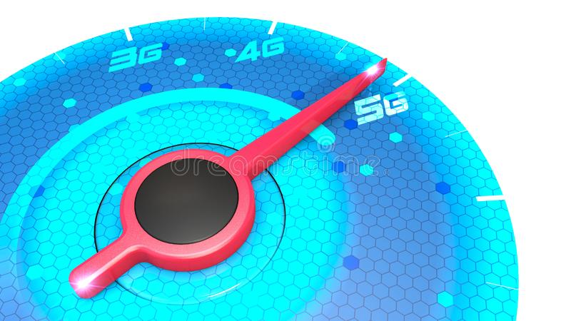 Pressure gauge, speed meter, speed test, internet speed and 5G connection. New technologies, exploit broadband. Technological pote. Ntialities, new applications royalty free illustration