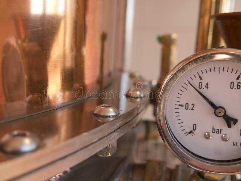 Pressure meter alembic. Parts of alembic still, pressure meter royalty free stock image