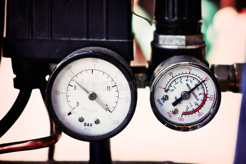 Pressure meter. A pressure meter on compressor royalty free stock images