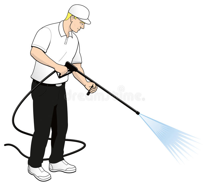 Pressure Power Washing Tech Clip Art royalty free illustration