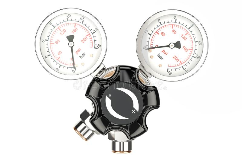 Pressure regulator with reducing valve, front view. 3D rendering. On white background stock illustration