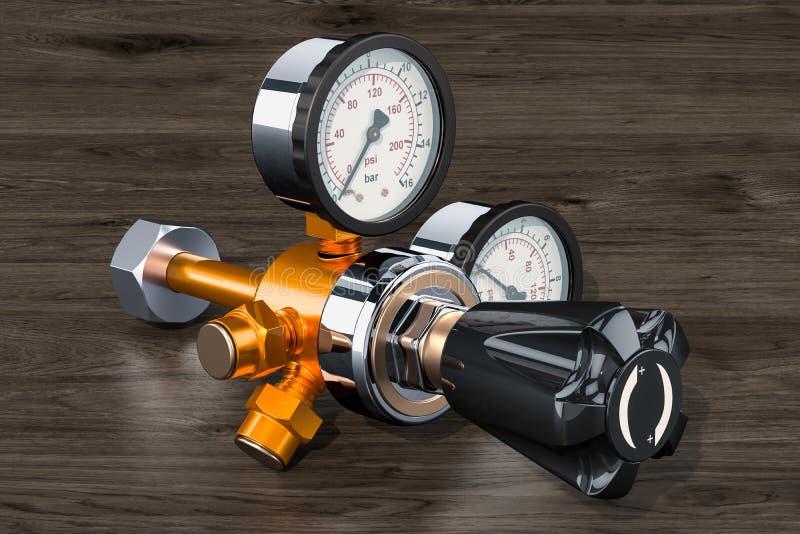 Pressure regulator with reducing valve on the wooden background, 3D rendering. Pressure regulator with reducing valve on the wooden background, 3D royalty free illustration