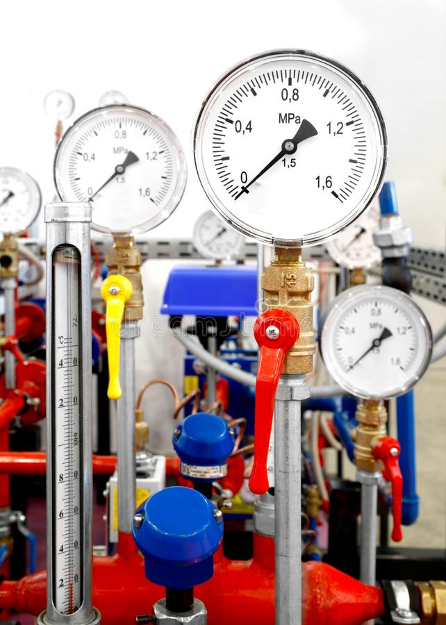 Pressure and temperature measuring instruments royalty free stock images