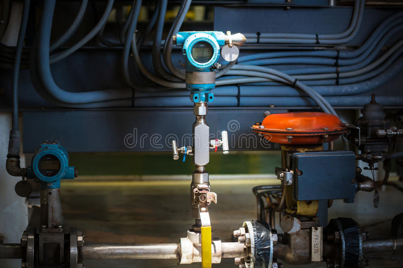 Pressure transmitter in oil and gas industry. For monitored process, digital display of electronic equipment, Controller equipment royalty free stock photos