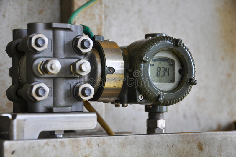 Pressure transmitter in oil and gas process , send signal to controller and reading pressure in the system stock image