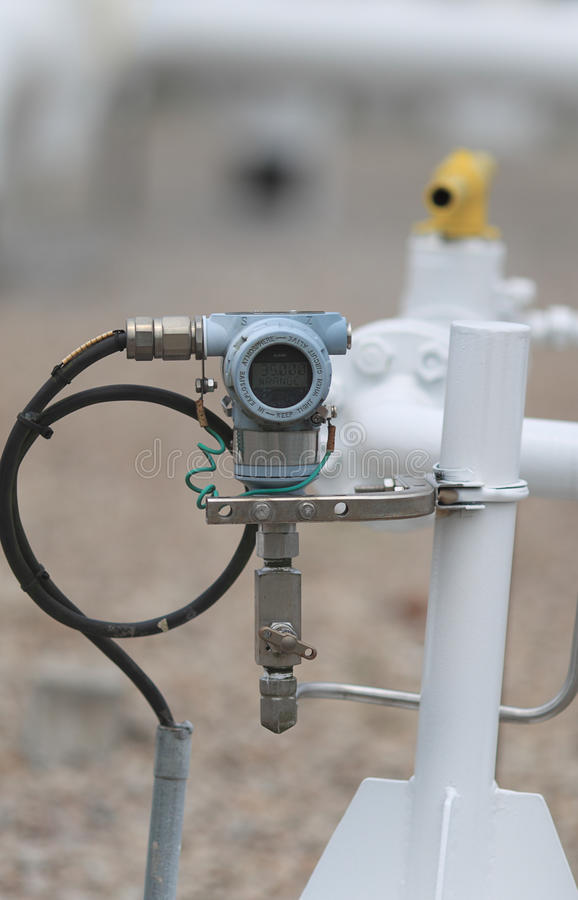 Pressure transmitter on site stock photos