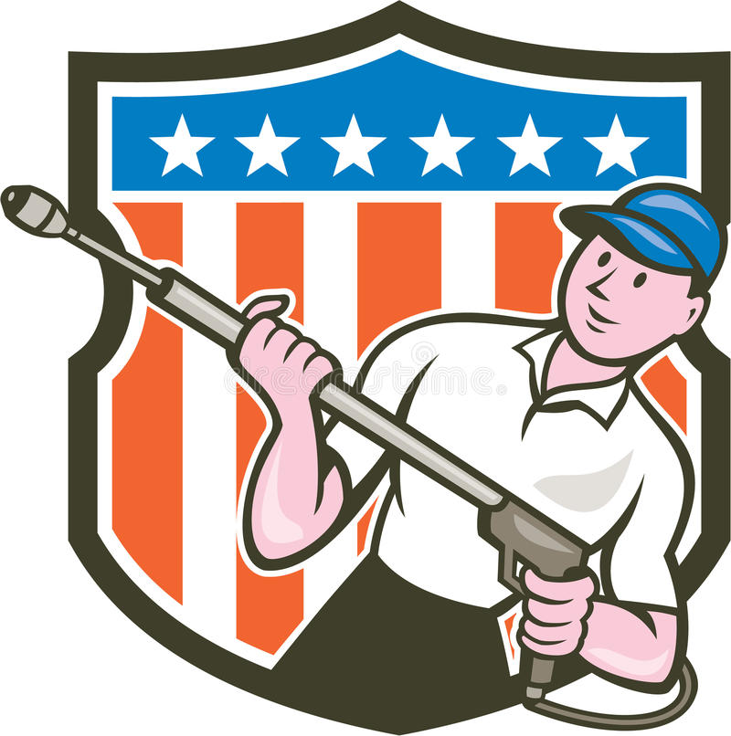 Pressure Washer Water Blaster USA Flag Cartoon. Illustration of a male pressure washing cleaner worker holding a water blaster viewed from front set inside stock illustration