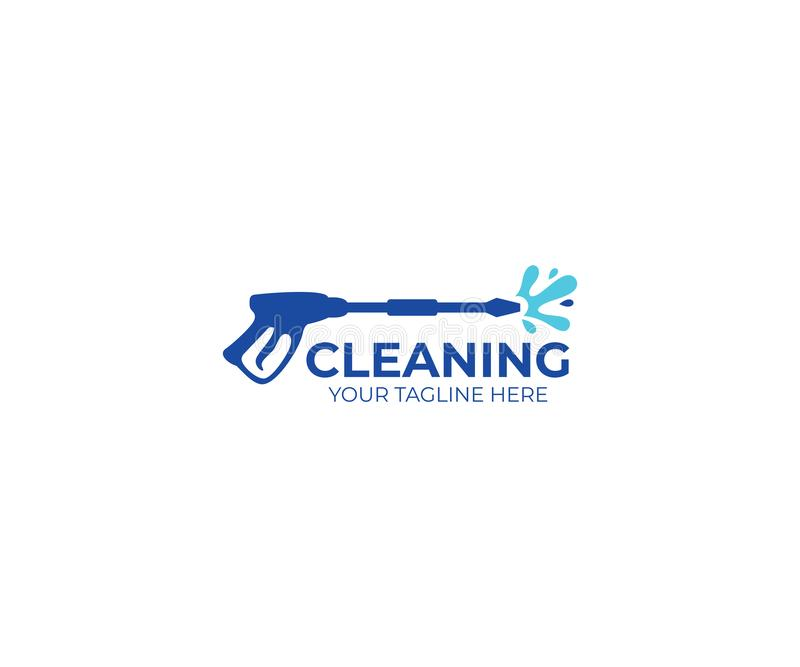 Pressure washing logo template. Cleaning vector design stock illustration