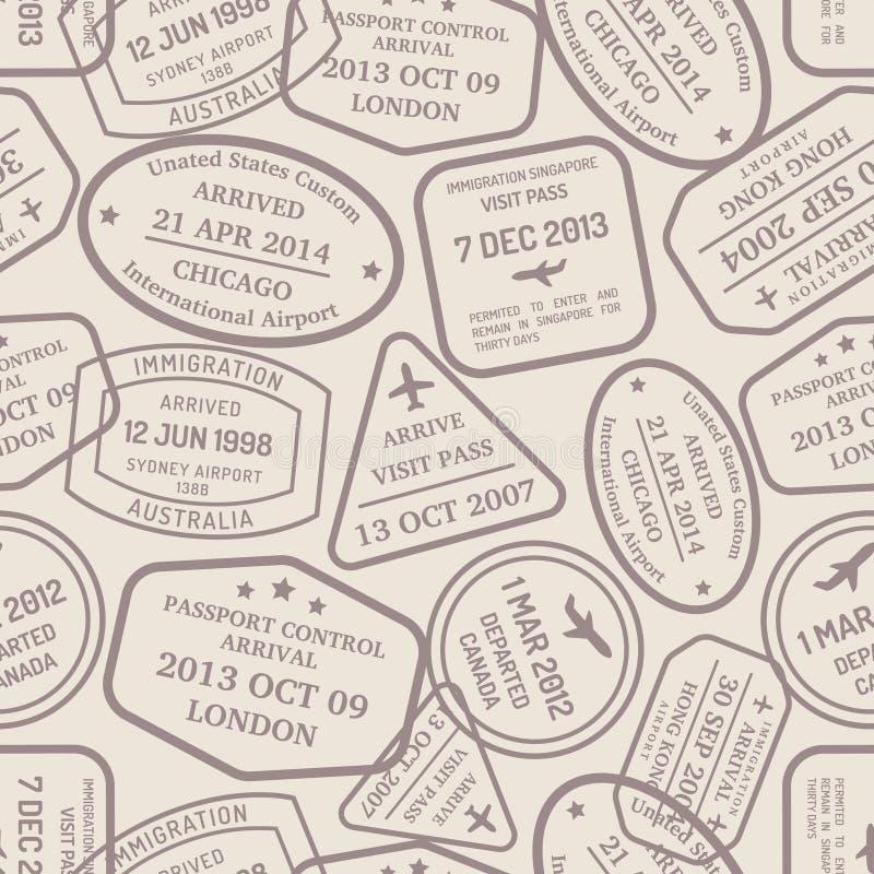 Prestígios e selos da mão do controle de passaporte ilustração royalty free