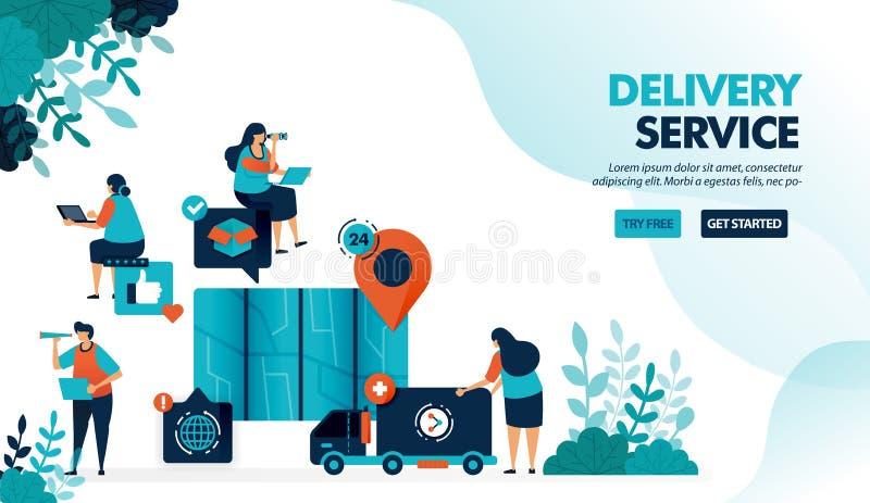 Prestação de serviços por caminhão e correio Localizar localização de ponto com mapa para entregar mercadorias Serviço de comérci ilustração stock