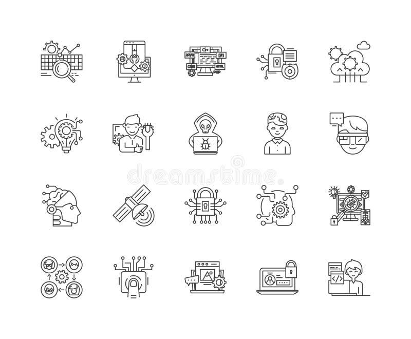 Presta serviços de manutenção à linha ícones, sinais, grupo do vetor, conceito da ilustração do esboço ilustração stock