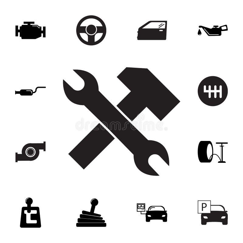 Presta serviços de manutenção ao ícone Grupo de ícones do reparo do carro Sinais, coleção do eco do esboço, ícones simples para W ilustração do vetor