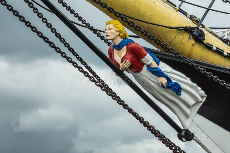 Prestanome sull'arco della nave alta al museo della riva del fiume, Glasgow, Sco fotografia stock libera da diritti