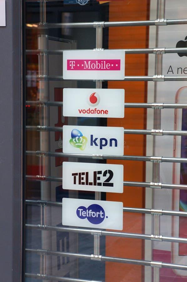 Prestataires de réseaux mobiles néerlandais photographie stock