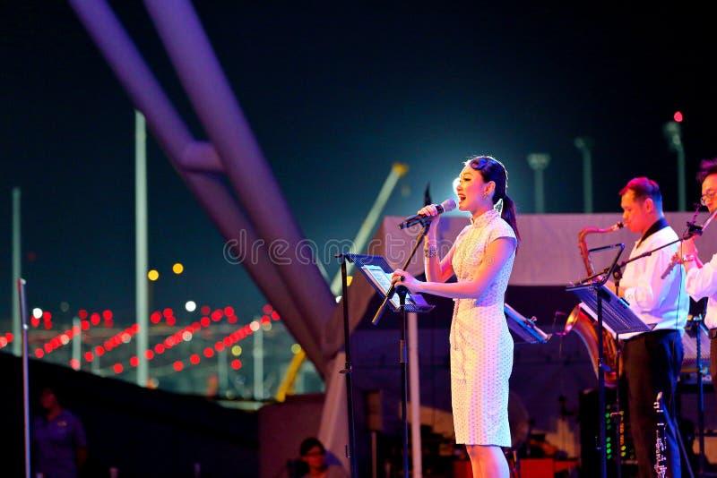 Prestaties bij Promenade Singapore stock afbeelding