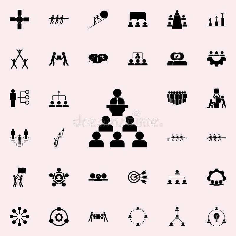 prestaties vóór het teampictogram Dat voor Web wordt geplaatst en het mobiele algemene begrip van groepswerkpictogrammen royalty-vrije illustratie