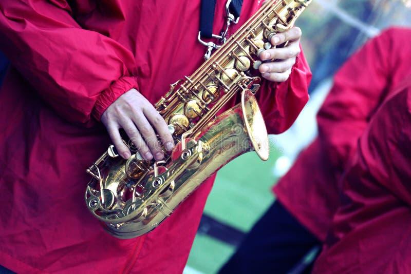Prestaties van een jazzband stock afbeelding
