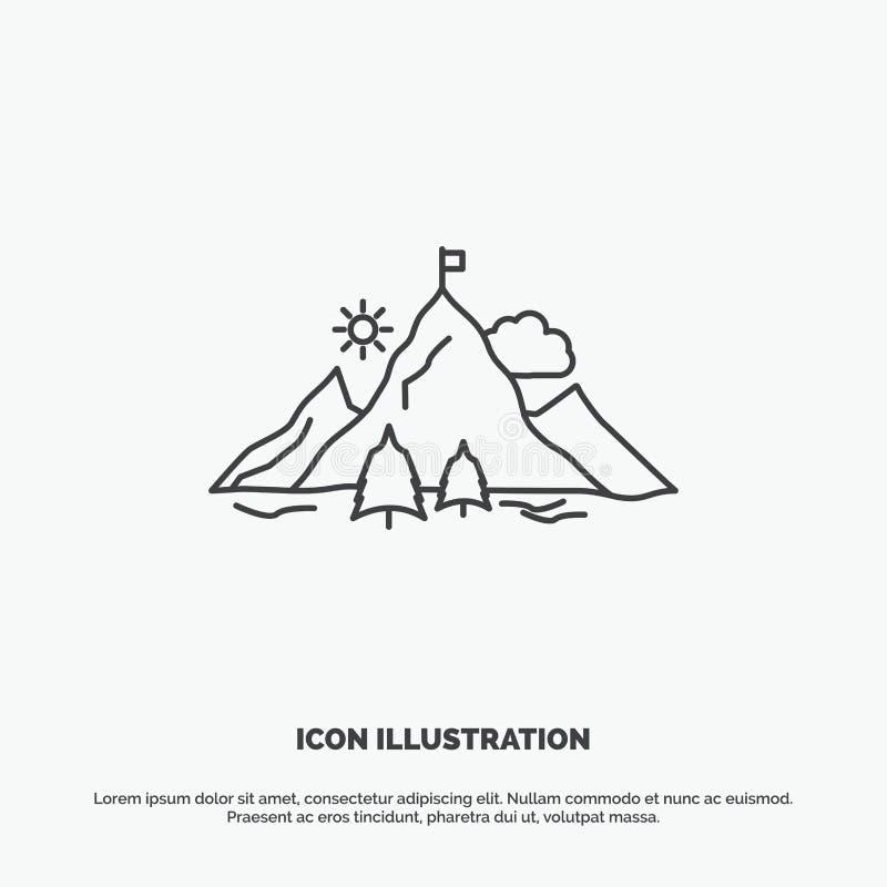 prestation flagga, beskickning, berg, framg?ngsymbol Linje gr?tt symbol f?r vektor f?r UI och UX, website eller mobil applikation stock illustrationer