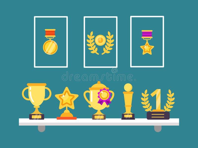 Prestationer på hyllor Koppar och medaljer för väggtrofé guld- i ramar för illustrationer för begrepp för sportsegervektor in stock illustrationer
