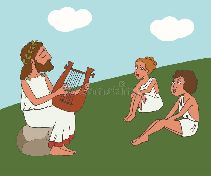 Prestazione del bardo del greco antico del fumetto illustrazione vettoriale