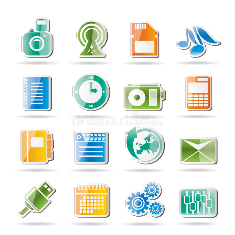 Prestazione del telefono, commercio ed icone dell'ufficio illustrazione vettoriale