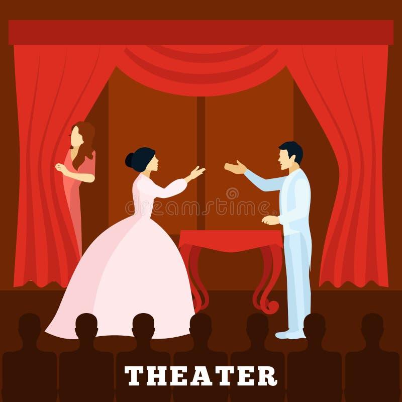 Prestazione della fase del teatro con il manifesto del pubblico royalty illustrazione gratis