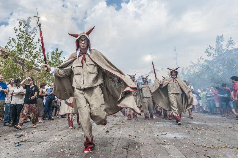 Prestazione di Cercavila presso maggiore di Vilafranca del Penedes Festa fotografie stock