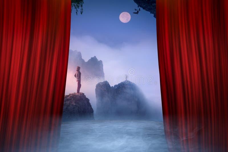 Prestazione di teatro con un'apertura rossa della tenda fotografia stock