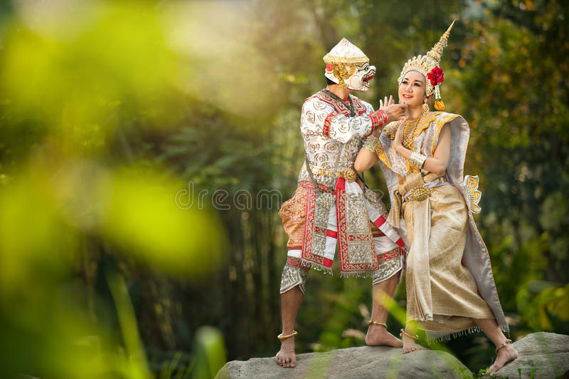 Prestazioni di pantomimo in Tailandia immagini stock libere da diritti