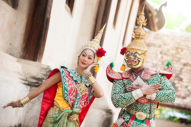 Prestazioni di pantomimo in Tailandia immagini stock
