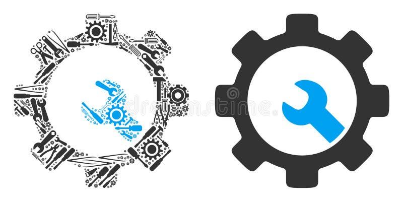 Preste serviços de manutenção à colagem das ferramentas de ferramentas do serviço ilustração do vetor
