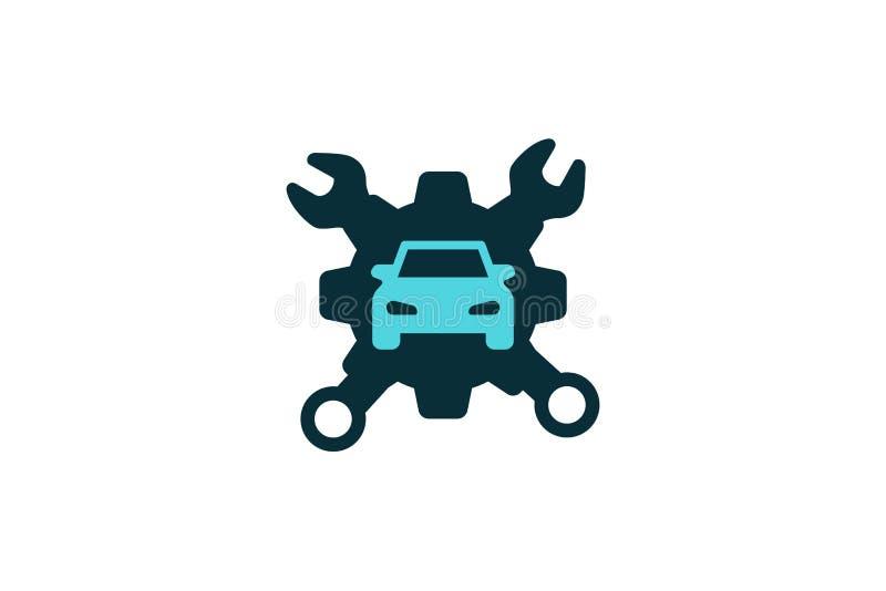 Preste serviços de manutenção à ferramenta, carro que repara Logo Designs Inspiration Isolated no fundo branco ilustração do vetor