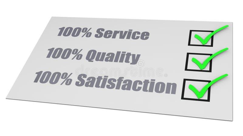 Preste serviços de manutenção à lista de verificação da satisfação da qualidade ilustração do vetor